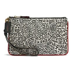Coach x Disney Keith Haring Leather Clutch in Brass Chalk HARD TO FIND $168.00