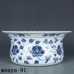 5.6 Old China Antique Ming Dynasty Xuande Year System Peony Pattern Basin