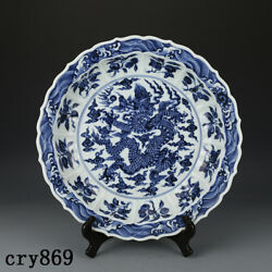 Old China Antique The Ming Dynasty Xuande Blue And White Dragon Pattern Disc