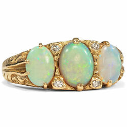Wonderful Vintage Opal - And Diamond-ring From 750 Gold England 1990