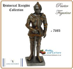 Pewter Medieval Knight W/sword 4.25ins Myths /legends Historical Collection 7683
