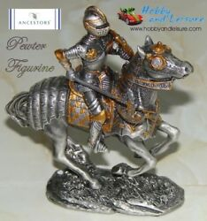 Pewter Medieval C16 Mounted Knight 4.25ins Myths Legends History Ancestors 7689