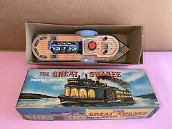Vintage Great Swanee Made In Japan Tin Toy Steam Paddle Friction Boat W/ Box A++