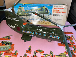 Vintage Marx Army Huge Tin Litho Battery Operated Toy Whirling Helicopter Boxed