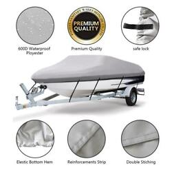 17-19 Ft 600d Waterproof Trailerable V-hull Boat Cover Heavy Duty Fabric /w Bag