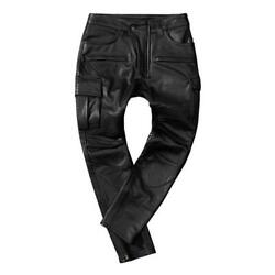 Mens Real Leather Pants Motorcycle Biker Outdoor Hunting Cycling Windproof New L