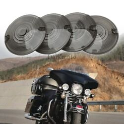 Smoked Turn Signal Light Flat Lens Covers For Harley Electra Glide Motorcycle