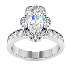 1.5 Ct E Si2 Marquise Diamond Engagement Flower Halo Antique Ring 14k White Gold