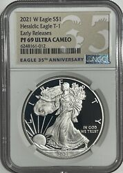 2021 W 1 Ngc Pf69 Er Ucam Early Release Proof Silver Eagle Heraldic T-1 35th Lb
