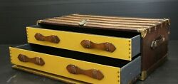 Antique Leather And Brass Shirt Trunk With Draws