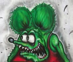 Awesome Ed Big Daddy Roth Rat Fink Art Airbrushed T-shirt Lg Monster Hot Rods