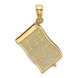 14k Gold 3-d Moveable Pages The Lord Is My Shepherd Psalm 23 Charm