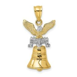 14k Gold Two-tone 3d Moveable Liberty Bell Eagle Top Charm L- 21.25mm, W-14.5mm