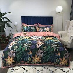 Luxury Egyptian Cotton Tropical Botanical Cover 4pcs Bedding Set Fitted Sheet