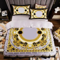 New Yellow Print King Queen Size Quilts White Blue Gold Bed Sheet Bedding Sets
