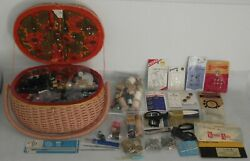 Vintage Penneys Japan Cushioned Top Sewing Box Basket Filled Buttons Scissors ++