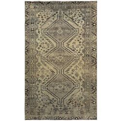 4and0391x6and0397 Semi Antique Beige Farsian Sheeraz Handknotted Organic Wool Rug R60546