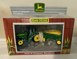 John Deere Tractor And Wagon Salt And Pepper Shakers  Enesco New In Box