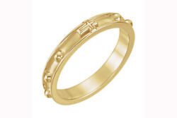 10k Yellow Gold Beveled Rosary Ring Holiday Sale