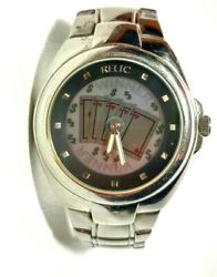 Fossil Relic Poker Watch Stainless Steel Winner Flashing Cards Straight Flush