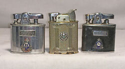 Lot Of 3 Ww2 Lighters Decorated With Canadian Cap Badges 2 Ronsons