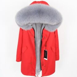 Natural Fox Fur Collar Womenand039s Fur Coat Jacket Thickened Liner Parker Cotton