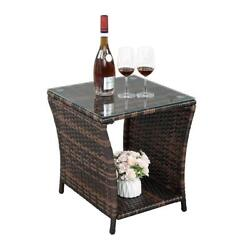 Yard Wicker Rattan Side End Tea Table With Glass Patio Furniture Outdoor Storage