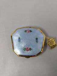 Antique La Mode Baby Blue 💙 Guilloche 24k Compact Hand Painted Flowers, Puff