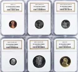 2005 S Silver 11 Coin Proof Set All Ngc Pf70uc Ultra Cameo Kennedy Buffalo Qtrs