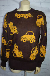 New Vintage Vw Volkswagon Beetle Car Pullover Knit Sweater Yellow Bug Size M