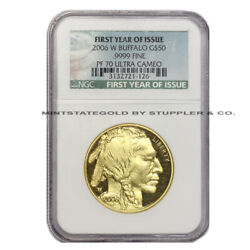 2006-w 50 Gold Buffalo Ngc Pf70ucam First Year Of Issue Ultra Cameo Proof Coin