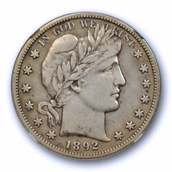 1892 S 50c Barber Half Dollar Ngc Vf 30 Very Fine To Extra Fine Key Date Tough
