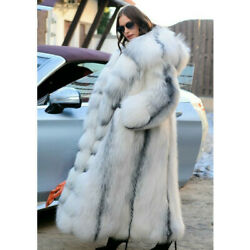 130cm Long Real Fox Fur Coat With Hood Thick Fox Fur Jacket Plus Size Overcoat