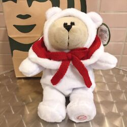 Starbucks 2019 Holiday Bearista Girl White With Red Cape Bear Plush Doll Japan