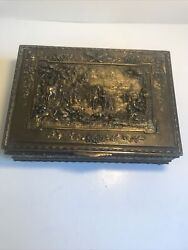 Jennings Brothers Brass Repousse Footed Jewelry Trinket Box Ornate 8x5x3