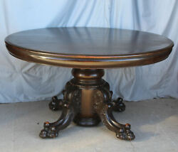 Antique Round Oak Dining Table – 48″ Diameter – 6 Leaves - Claw Feet