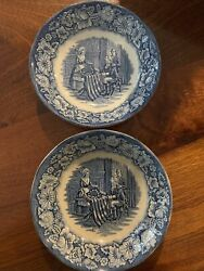 Liberty Blue Historic Colonial Scene Betsy Ross 5 Berry Bowl-made In England