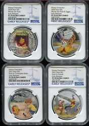 2020 / 2021 Niue 2 Winnie Pooh And Friends Set Of 4 Ngc Pf70 Uc Er Silver Tigger