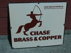 Rare Art Deco Chase Brass And Copper Co Porcelain Advertising Sign Centaur Clean