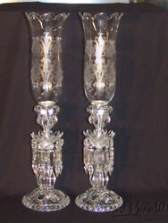Pair Baccarat France Medallion Candle Holders W/prisms/engraved Hurricane Shades