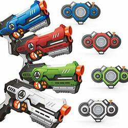 Laser Tag Set - Pack Of 4 Infrared Blasters And Vests With Innovative Fog