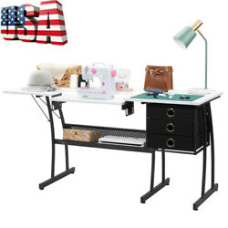 Fch Sewing Table Shelves Storage Lifting Board W/3 Drawers Large Home Furniture