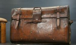 Amazing Full Leather Antique American Travel Trunk Haskell Bros Chicago