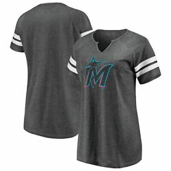 Miami Marlins Fanatics Branded Women's Weathered Official Logo Tri-blend Notch