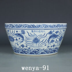 Old China Antique Ming Dynasty Chenghua Blue And White Fish Algae Water Tank