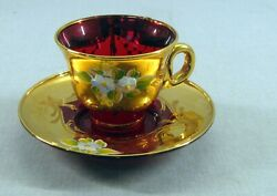 Vintage Italy Venetian Gold Overlay Ruby Red Glass Hand Painted CUP And SAUCER