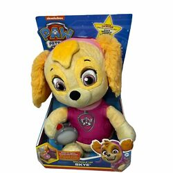 Paw Patrol Snuggle Up Pup Skye Doll Toy Plush Lights Up Talks Sings Pink New