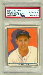 1941 Play Ball Paper Version 14 Ted Williams Boston Red Sox Psa Auth Test Issu