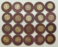 Paulson Handc Starburst Cancelled Set Of 20 Brown And Purple Chips