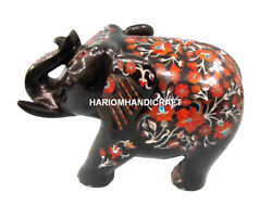 Black Marble Carnelian Trunk Up Elephant Inlay Marquetry Arts Hallway Gifts H516